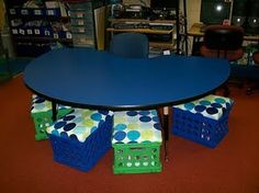 student stools made out of milk crates + fabric!  love this!!