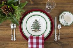 This Spode Christmas tree china was given to me throughout my childhood. I appreciate it a lot more now. Angelique by International silver and red gingham napkins round out this Christmas place setting.