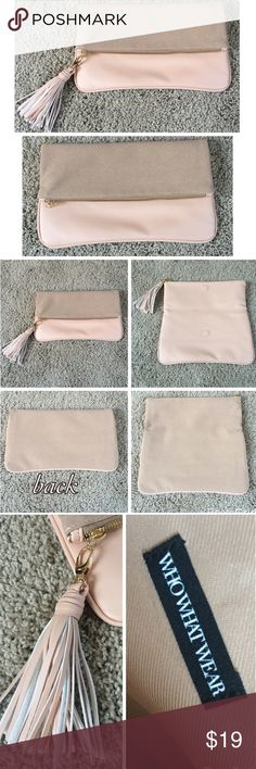 """Pink & Mauve Clutch With Removable Tassel  WHOWHATWEAR brand. Purse itself is pink and mauve. Zipper is gold. Tassel is pink and white and is easily removable. Inside of purse is tan. ✨This purse has never been used!! NWOT. NO marks, stains, issues, odors! It basically opens up into one big pocket. Some helpful measurements Length: 11.25"""". Height (when folded down): 7"""". Height (when opened up): 11.25"""". Tassel (from top to bottom): 5"""". WHOWHATWEAR Bags"""