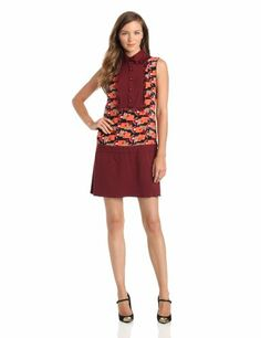 Anna Sui Women's Deco Bands Print Cdc Dress, Merlot, 2
