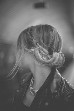 take chunks of hair from each side, braid, pull back and tie off in middle. then take hair from front and pin back. then twist it all into a Gibson tuck.