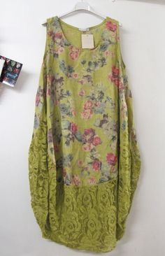 Lagenlook Parachute Linen Lace Vest Dress Green Floral: