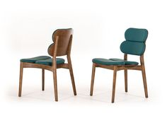 """Modrest Raeanne Modern Turquoise & Walnut Dining Chair. The Modrest Raeanne Modern Turquoise & Walnut Dining Chair showcases an innovative design featuring turquoise leatherette upholstery and a Walnut finished ash solid wood frame. Measuring W19"""" x D22"""" x H31"""" and a seat height of 17 inches, it is sold in sets of 2 and does not require assembly. Dimensions: W19"""" x D22"""" x H31""""  Seat Height: 17"""" Color: Other Finish:   -"""