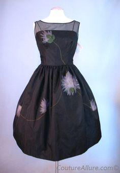 Embroidered Strapless chiffon Evening Dress Oleg Cassini 1962 ...