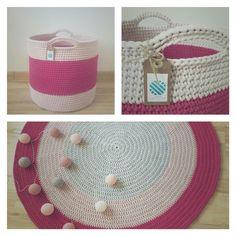 • www.facebook.com/wloczy.sie •   Handmade crochet big basket and rug / szydełkowy duży kosz i dywan ze sznurka bawełnianego / kosz na zabawki/ komplet dywan i kosz na szydełku