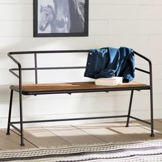 Laurel Foundry Modern Farmhouse Idell Metal and Wood Entryway Bench