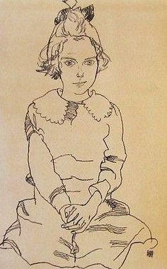 Portrait of Young Girl, Ltd Ed Offset Lithograph, Egon Schiele
