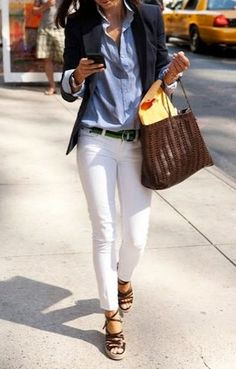 Business casual / white jeans   black jacket   blue shirt   brown bag