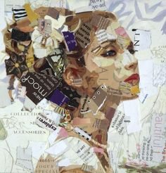 Portrait by Derek Gores collage art painting Collage Kunst, Collage Portrait, Paper Collage Art, Paper Art, Face Collage, Portraits, Art Collages, Collage Artists, Picasso Collage