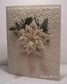 Nesties poinsettia, SU Petals a Plenty EF, SU 2 Step bird punch or Little leaves sizzlit, MS Pine Branch punch