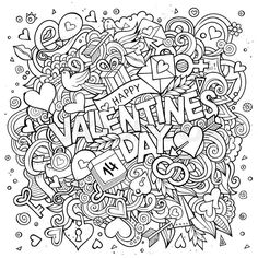Stock vector of 'Cartoon vector hand drawn Doodle Happy Valentines Day illustration. Line art detailed design background with objects and symbols' Coloring Book Pages, Coloring Sheets, Eye Illustration, Free Adult Coloring, Bullet Journal Art, Printable Coloring, Colorful Pictures, Word Art, Happy Valentines Day