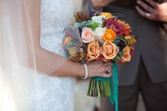 Fall wedding bouquet. Teal, copper and chocolate. Branches Event Floral Company