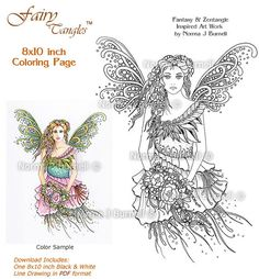 Innocence Fairy Tangles Adult Coloring Sheet Template by Norma J Burnell 8x10 Coloring book Page for Adults Fairies Fantasy Art to Color