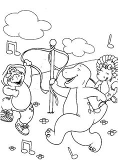 barney having fun with friends coloring page - Barney Friends Coloring Pages