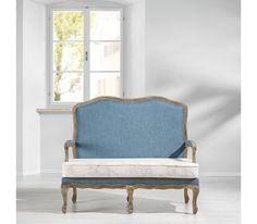 2-Sitzer-Bank in Blau und Weiß - ein Hingucker im barocken Stil