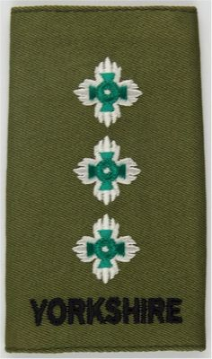 Yorkshire Regiment Captain Rank Slide On Olive Officer rank badge for sale Military Ranks, British Armed Forces, Royal Marines, Royal Air Force, Yorkshire, Badges, Plane, Royalty, Surface