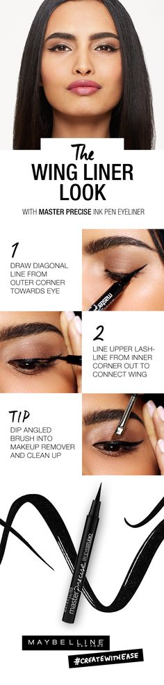 Looking for a graphic eye look to rock this summer? Whether it's for a wedding look or girls night out Maybellien has a liner look for you. Follow these three easy steps to create the perfect bold cat eye. Check out the Maybelline Liner Gallery for a more detailed video tutorial along with our full range of tutorials and inspirational looks that are guaranteed to help you learn to create with ease no matter what your liner level.