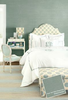 Ballard Designs Grasscloth wallpaper in Blue