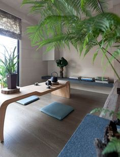 -subdued colors  -bamboo or other plants  -furniture low to ground