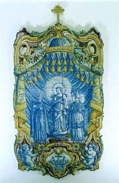 Do Tempo da Outra Senhora: Nossa Senhora no Azulejo Português - São Marçal, Nossa Senhora da Conceição e São Francisco de Borja (1758). Painel de azulejos (300 x 154 cm). Fabrico de Lisboa. Museu Nacional do Azulejo, Lisboa.