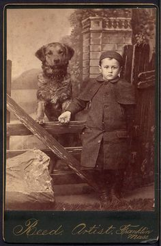 Cabinet Card Photograph Boy and His Dog Franklin MA Dog Standing Boy Holds Paw   eBay