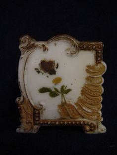 Antique milk glass playing card holder