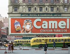New York City February 1943 - Camel cigarette advertisement at Times Square : Colorization Vintage New York, Arrow, Times Square New York, 42nd Street, Futurama, Vintage Pictures, Film, Billboard, Old Photos