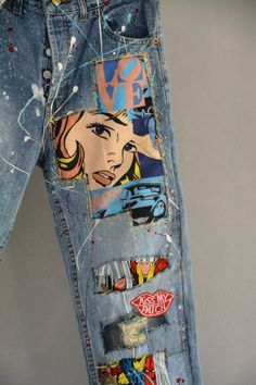 Denim Vintage, Jean Vintage, Jeans Levis 501, Denim Jeans, Painted Jeans, Painted Clothes, Hand Painted, Jeans Tumblr, Redone Jeans
