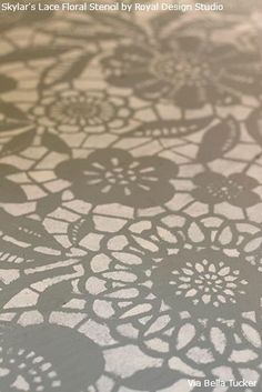 Close-up of Skylar's Lace Floral Stencil from Royal Design Studio