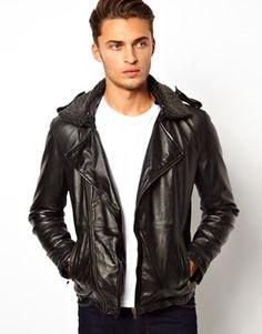 Asos-Barneys Premium Leather Biker