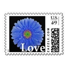 Medium Blue, Gerbera Daisy, Love, Postage Stamps. Cute for engagement, wedding, bridal shower, vow renewal, and anniversary invitations, announcements, save the dates, and thank you cards. #blue #gerbera #gerber #daisy #love #stamps #wedding #shower #engagement #invitation #envelopes