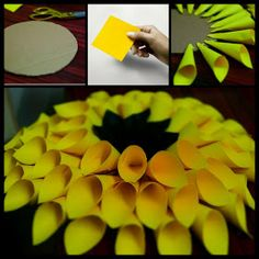 Paper Sunflowers, Tissue Paper Flowers, Origami Flowers, Diy Flowers, Sunflower Crafts, Sunflower Party, Diy Paper, Paper Crafts, Paper Dahlia