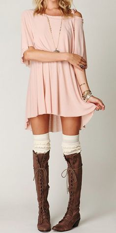 Off the shoulder dress, Knee high socks & Knee high lace up boots, but I'd add leggings