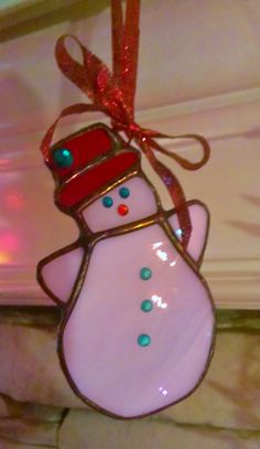 Stained Glass Snowman Christmas Ornament Red and by JBsGlassHouse