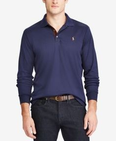 Polo Ralph Lauren Men's Big & Tall Classic-Fit Soft-Touch Polo - Blue 2XB