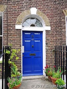 Blue front door ooo like this color a lot for a front door