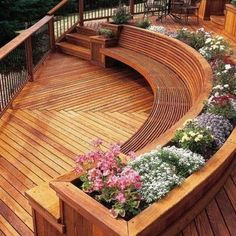 Love the #flowerbed built into this #deck - Follow our #hometours on YouTube ( link-in-bio) @HomeChannelTV - #homedesigns #homedecor