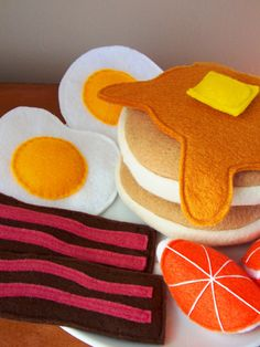 Felt Food Breakfast Eco Friendly Pretend Play Food Set for Childrens Toy Kitchen - Pancakes, Eggs, Bacon, Orange Slices, Butter, Syrup. Etsy.