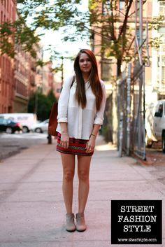 ba33662db0 Sheer Blouse + Zara Tribal Skirt + Leather Tote + Suede Booties - New York  Tribal
