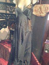 Vintage Size 18 Gothic Black Beaded Crepe Flapper Slip Evening Dress