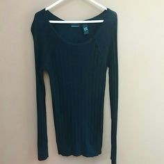 Cute black top Super cute light knit fitted black top with button detailing in upper left corner ....its fitted but has so one stretch to it !very flattering!! great condition! on l y worn once ! fits smaller. Sweaters