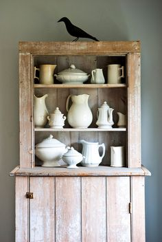 rustic cabinet for ironstone collection
