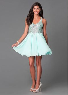Graceful Lace & Chiffon V-neck Neckline A-line Homecoming Dress with Beadings & Rhinestones