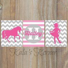 cowgirl nursery, horse nursery, pink gray chevron nursery wall art  by KalasKorner, $27.00
