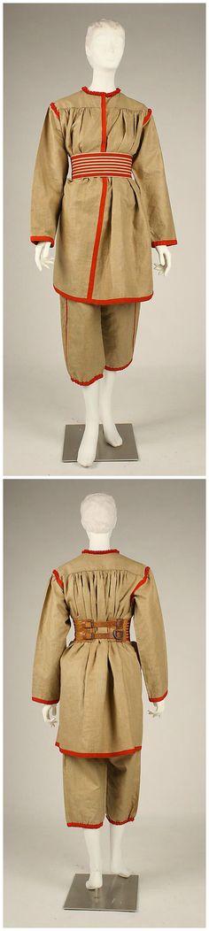 Gym suit, French, c. 1896, Metropolitan Museum of Art. Linen, cotton, leather, metal.