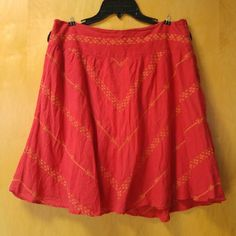 "Free People Red Embroidered Full A-Line Skirt Free People, size 8, in great condition! Bright red orange color with pretty cross stitch embroidery. Fully lined and zips on the side. There is no stretch. Great full circle skirt. Measurements are 15.5"" waist and 20"" length. Please ask any and all questions before purchasing. No trades. Make a reasonable offer. Thanks! Free People Skirts A-Line or Full"