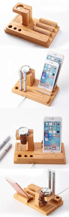 Wooden Apple Watch Charging Station Dock Holder & iPhone SmartPhone Holder Stand Mount for iPhone and Other Cell Phone