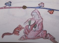 Elizabeth and the squirrel. Lutrell Psalter, f.33r