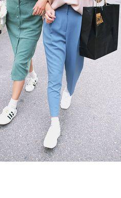 Pleated Tapered Wide Leg Pants (Sky Blue) | STYLENANDA