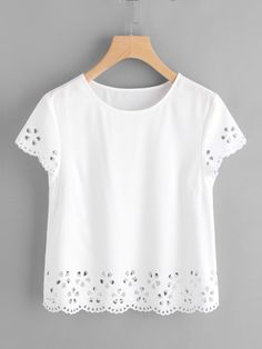 Dotfashion White Solid Scallop Laser Cut Cap Sleeve Womens Tops And Blouses 2019 Summer Casual Korean Fashion Clothes Ladies Top A Great Variety Of Goods Blouses & Shirts